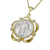 "Silver Standing Liberty Quarter Goldtone Pendant Scalloped W/Crystals  (24""Chain)"