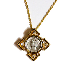 Mercury Dime Goldtone Art Deco Pendant