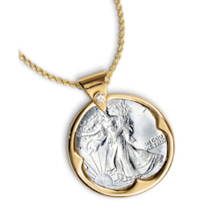 "Silver Walking Liberty Half Dollar Goldtone Pendant with Crystal Bail 24"" Chain"