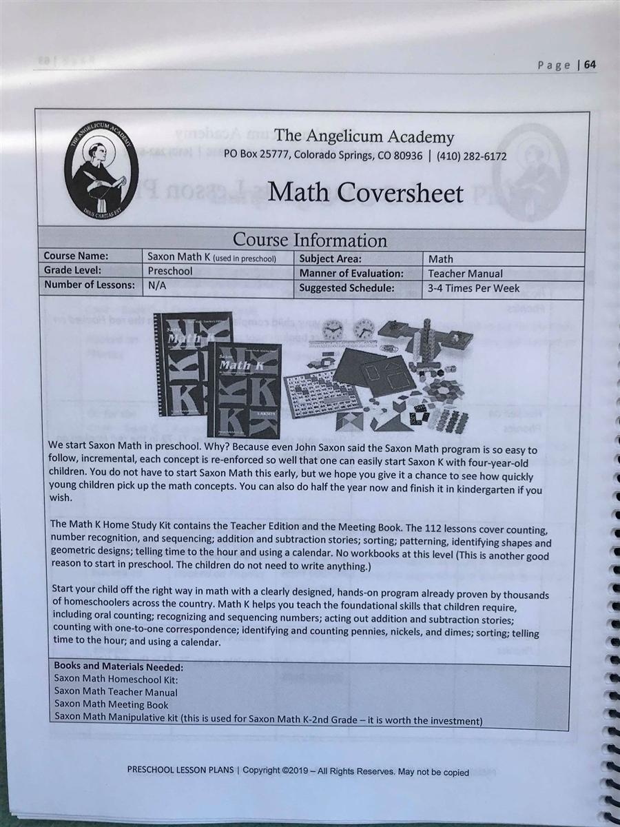 Angelicum Academy Preschool Lesson Plans binder