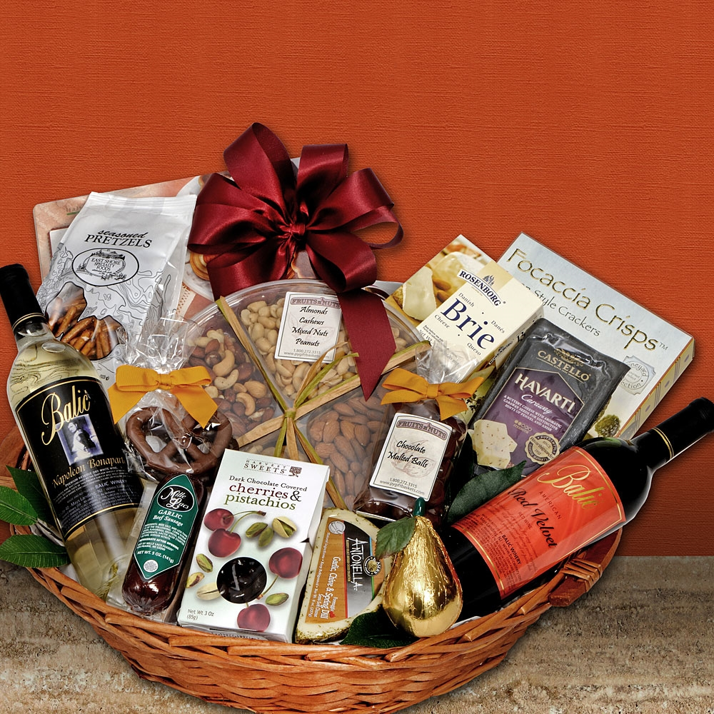 Deluxe wine gourmet gift basket negle Choice Image