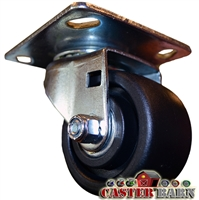 "3 Inch Low Profile Swivel Caster Plate Mount - 4""X4-1/2"" Top Plate"