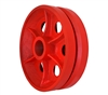 "10"" X 3"" Red Ductile V-Groove Wheel - 7,000 lbs Capacity"