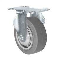 "3"" X 1.25"" Thermo Rubber Wheel - Rigid Caster - 225 lbs Capacity"