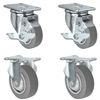 "3"" X 1.25"" Thermo Plastic Rubber Caster Set of 4 - 2 Locking Swivel & 2 Rigid Casters - 900 lbs Capacity Per Set"