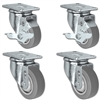"3"" X 1.25"" Thermo Plastic Rubber Caster Set of 4 - 2 Locking Swivel Casters & 2 Non Locking Swivel - 900 lbs Capacity Per Set"