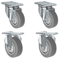 "3"" X 1.25"" Thermo Plastic Rubber Caster Set of 4 - 2 Swivel & 2 Rigid Casters - 900 lbs Capacity Per Set"
