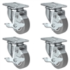 "3"" X 1.25"" Thermo Plastic Rubber Caster Set of 4 - All Swivel Locking Casters - 900 lbs Capacity Per Set"