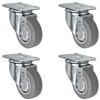 "3"" X 1.25"" Thermo Rubber Wheel - Swivel Caster Set of 4 - 900 lbs Capacity Per Set"