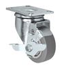 "3"" X 1.25"" Thermo Rubber Wheel - Swivel Caster with Brake - 225 lbs Capacity"