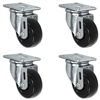 "3"" X 1.25"" Black Hard Rubber Caster Set of 4 - All Swivel Casters - 1,100 lbs Capacity Per Set"