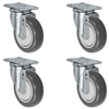 "3"" X 1.25"" Gray Polyurethane on Polyolefin Caster Set of 4 - All Swivel Casters - 1,000 lbs Capacity Per Set"
