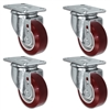 "3"" X 1.25"" Maroon Duratough Polyurethane on Polyolefin Caster Set of 4 - All Swivel Casters - 1,000 lbs Capacity Per Set"