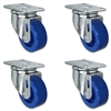 "3"" X 1.25"" Blue Solid Polyurethane Caster Set of 4 - All Swivel Casters - 1,200 lbs Capacity Per Set"