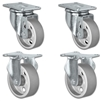 "5"" X 1.25"" Steel Wheel Caster Set of 4 - 2 Swivel & 2 Rigid Casters - 1,400 lbs Capacity Per Set"