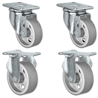 "3"" X 1.25"" Steel Wheel Caster Set of 4 - 2 Swivel & 2 Rigid Casters - 1,400 lbs Capacity Per Set"