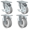 "5"" X 1.25"" Steel Wheel Caster Set of 4 - 2 Locking Swivel & 2 Rigid Casters - 1,400 lbs Capacity Per Set"