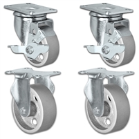 "3"" X 1.25"" Steel Wheel Caster Set of 4 - 2 Locking Swivel & 2 Rigid Casters - 1,400 lbs Capacity Per Set"
