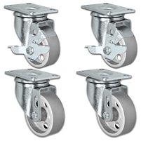 "3"" X 1.25"" Steel Wheel Caster Set of 4 - 2 Locking Swivel & 2 Swivel Casters - 1,400 lbs Capacity Per Set"