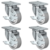 "5"" X 1.25"" Steel Wheel Caster Set of 4 - All Locking Swivel Casters - 1,400 lbs Capacity Per Set"