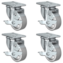 "3"" X 1.25"" Steel Wheel Caster Set of 4 - All Locking Swivel Casters - 1,400 lbs Capacity Per Set"