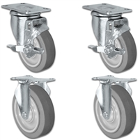 "4"" X 1.25"" Thermo Plastic Rubber Caster Set of 4 - 2 Locking Swivel & 2 Rigid Casters - 1,200 lbs Capacity Per Set"