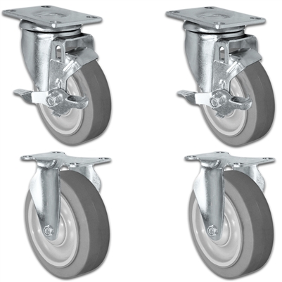 "5"" X 1.25"" Thermo Plastic Rubber Caster Set of 4 - 2 Locking Swivel & 2 Rigid Casters - 1,260 lbs Capacity Per Set"