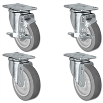 "4"" X 1.25"" Thermo Plastic Rubber Caster Set of 4 - 2 Locking Swivel Casters & 2 Non Locking Swivel - 1,260 lbs Capacity Per Set"
