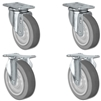 "4"" X 1.25"" Thermo Plastic Rubber Caster Set of 4 - 2 Swivel & 2 Rigid Casters - 1,200 lbs Capacity Per Set"