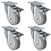 "4"" X 1.25"" Thermo Plastic Rubber Caster Set of 4 - Swivel Front Locking Casters - 1,200 lbs Capacity Per Set"