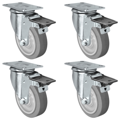 "5"" X 1.25"" Thermo Plastic Rubber Caster Set of 4 - Swivel Front Locking Casters - 1,260 lbs Capacity Per Set"