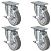 "4"" X 1.25"" Thermo Plastic Rubber Caster Set of 4 - All Swivel Locking Casters - 1,200 lbs Capacity Per Set"