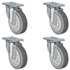 "5"" X 1.25"" Thermo Rubber Wheel - Swivel Caster Set of 4 - 1,260 lbs Capacity Per Set"