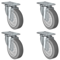 "4"" X 1.25"" Thermo Rubber Wheel - Swivel Caster Set of 4 - 1,200 lbs Capacity Per Set"