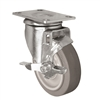 "5"" X 1.25"" Thermo Rubber Wheel - Swivel Caster with Top Locking Brake - 315 lbs Capacity"