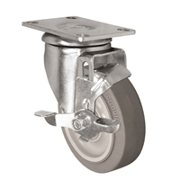 "4"" X 1.25"" Thermo Rubber Wheel - Swivel Caster with Top Locking Brake - 300 lbs Capacity"