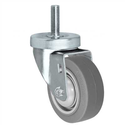 "3"" Threaded Stem Caster - Swivel Caster with Thermoplastic Rubber Wheel - 225 lbs Per Caster - 1/2"" x 1-1/2"" Long Threaded Stem Caster"