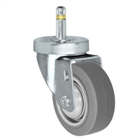 "3"" X 1-1/4""  FX Thermo Plastic Rubber Wheel - Swivel Caster - 7/16"" x 1-3/8""  Grip Ring Stem Caster -  225 LBS Load Capacity"