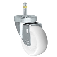 "3"" X 1-1/4"" White Nylon Wheel - Swivel Caster - 7/16"" x 1-3/8""  Grip Ring Stem Caster -  300 LBS Load Capacity"