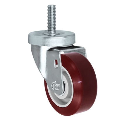 "3.5"" Threaded Stem Caster - Swivel Caster with Hi-Tech DURATOUGH Maroon Polyurethane on Polyolefin Core Wheel - 300 lbs Per Caster - 1/2"" x 1-1/2"" Long Threaded Stem Caster"