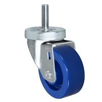 "3"" Threaded Stem Caster - Swivel Caster with Blue Solid Polyurethane Wheel - 300 lbs Per Caster - 1/2"" x 1-1/2"" Long Threaded Stem Caster"