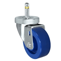 "3"" X 1-1/4""  Swivel Caster - Solid Polyurethane Wheel - 7/16"" Grip Ring Stem Caster -  300 LBS Load Capacity"