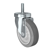 "4"" Threaded Stem Caster - Swivel Caster with Thermoplastic Rubber Wheel - 300 lbs Per Caster - 1/2"" Threaded Stem Caster"
