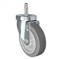 "4"" X 1-1/4""  FX Thermo Plastic Rubber Wheel - Swivel Caster - 7/16"" x 1-3/8""  Grip Ring Stem Caster -  300 LBS Load Capacity"