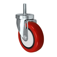 "4"" Threaded Stem Caster - Swivel Caster with Red Polyurethane on Polyolefin Core Wheel - 300 lbs Per Caster - 1/2"" x 1-1/2"" Long Threaded Stem Caster"