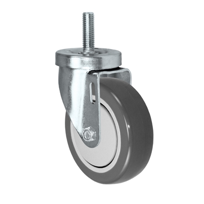 "4"" Threaded Stem Caster - Swivel Caster with Gray Polyurethane on Polyolefin Core Wheel - 300 lbs Per Caster - 1/2"" x 1-1/2"" Long Threaded Stem Caster"