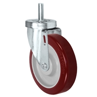 "4"" Threaded Stem Caster - Swivel Caster with Hi-Tech DURATOUGH Maroon Polyurethane on Polyolefin Core Wheel - 325 lbs Per Caster - 1/2"" x 1-1/2"" Long Threaded Stem Caster"