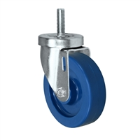 "4"" Threaded Stem Caster - Swivel Caster with Blue Solid Polyurethane Wheel - 350 lbs Per Caster - 1/2"" x 1-1/2"" Long Threaded Stem Caster"