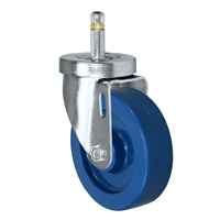 "4"" X 1-1/4""  Swivel Caster - Solid Polyurethane Wheel - 7/16"" Grip Ring Stem Caster -  350 LBS Load Capacity"