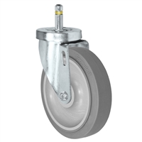 "5"" X 1-1/4""  FX Thermo Plastic Rubber Wheel - Swivel Caster - 7/16"" x 1-3/8""  Grip Ring Stem Caster -  315 LBS Load Capacity"